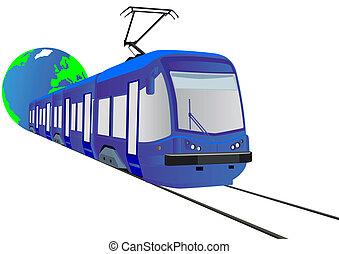 urbano, elétrico, transporte