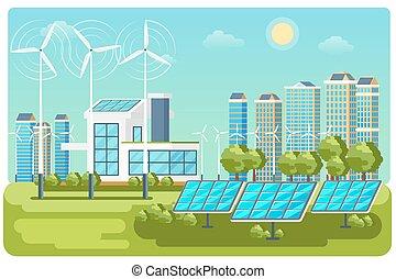 urbano, energia, vetorial, paisagem verde