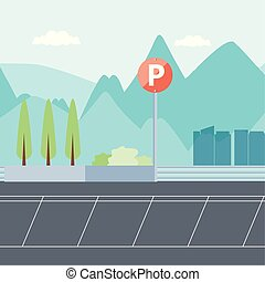 urbano, estacionamiento, escena, zona, icono