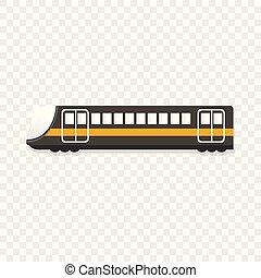 urbano, estilo, trem passageiro, ícone, caricatura