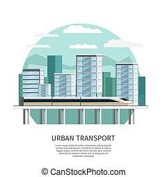 urbano, estrada ferro, desenho, transporte, orthogonal