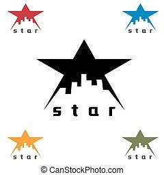 urbano, estrela, vetorial, desenho, modelo