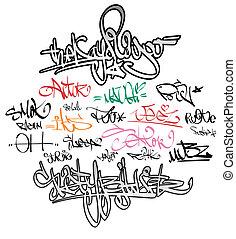 urbano, etichette, graffito, firma