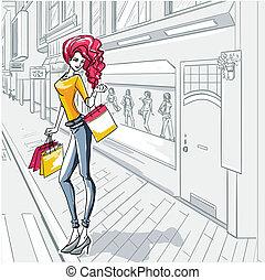 urbano, fashion., personas de ciudad