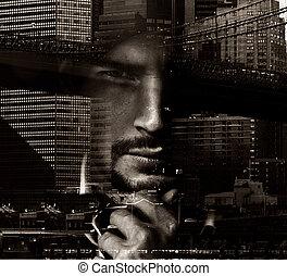 urbano, fundo, conceitual, retrato, bonito, paisagem, homem