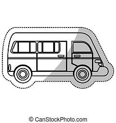 urbano, furgão, esboço, transporte, veículo