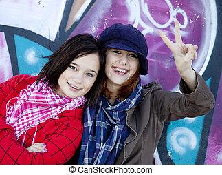 urbano, girls., dois, feliz