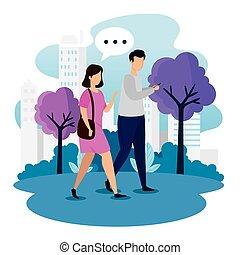 urbano, hablar, pareja, escena