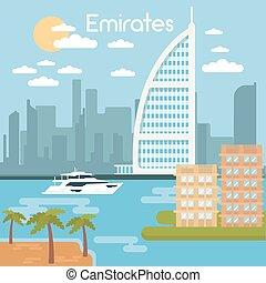 urbano, hotel, al, ilustración, burj, árabe, vector,...