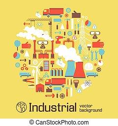 urbano, industrial, paisagem, elementos, cartaz