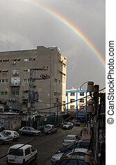 urbano, inverno, arco íris