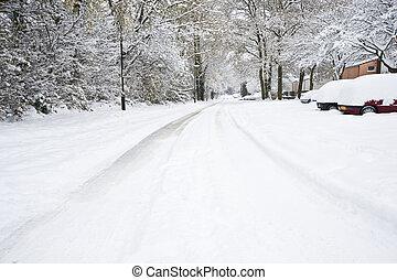 urbano, invierno, coches, nieve, profundo, calle, cubierto