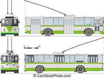 urbano, isolado, trolleybus