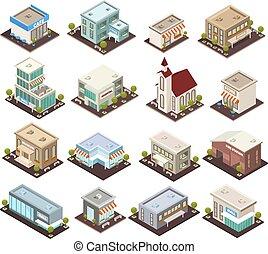 urbano, isométrico, arquitectura, iconos