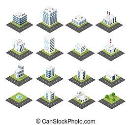urbano, isométrico, iconos