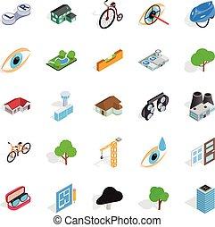 urbano, isométrico, iconos, conjunto, estilo, estructura