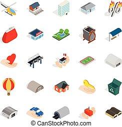 urbano, isométrico, infraestructura, iconos, conjunto, estilo
