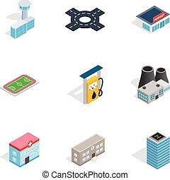 urbano, isométrico, infraestructura, iconos, estilo, 3d