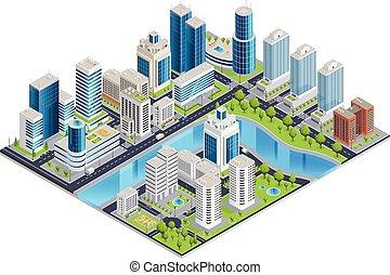 urbano, isométrico, moderno, paisaje
