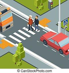 urbano, isometric, conceito, ajudante, cidade, incapacidades, pessoa, vetorial, rua., cruzamento, crosswalk, cuidado, homem