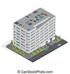 urbano, isometric, illustration., multi-story, service., cidade, car, apartamento, vetorial, estacionamento, 3d, park.