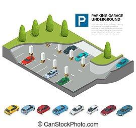 urbano, isometric, service., apartamento, car, infographic., indoor, 3d, ilustração, garagem, vetorial, estacionamento, underground., park.