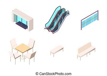 urbano, isometrico, centro commerciale, isolato, collezione, elemento, entry., 3d