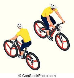 urbano, isometrico, concetto, bicicletta, elettrico, eco, moderno, icons., bicycle., e-bike, disegno, sentiero per cavalcate, trasporto, uomo