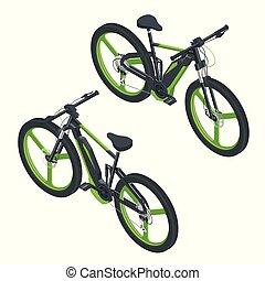 urbano, isometrico, concetto, bicicletta, elettrico, eco, moderno, icons., e-bike, disegno, trasporto