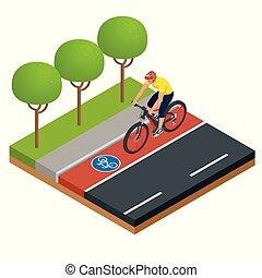 urbano, isometrico, concetto, city., elettrico, eco, moderno, icons., e-bike, disegno, bicicletta cavalca, trasporto, uomo