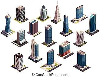 urbano, isometrico, set, grattacieli