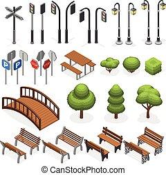 urbano, isometrico, vettore, città, albero, panche, miniatura, segnali stradali, oggetti, lampione, posti, strada