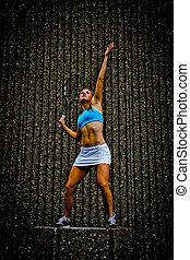 urbano, jogador tênis, armando, posar, excitado