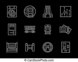 urbano, jogo, apartamento, ícones, vetorial, metrô, linha