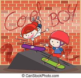 urbano, ladrillo, niño, plano de fondo, el skateboarding