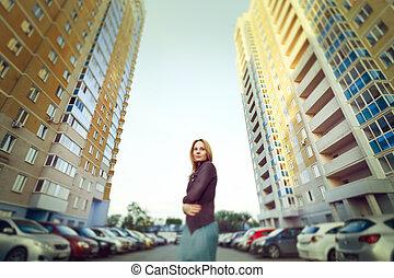 urbano, loiro, mulher, atraente, retrato