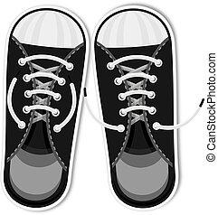 urbano, moda, shoes., acessórios, esportes, juventude, sneakers., pretas