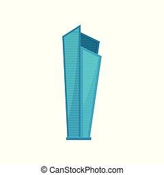 urbano, moderno, ilustración, elemento, contorno, vector, plano de fondo, edificio, blanco, rascacielos, paisaje