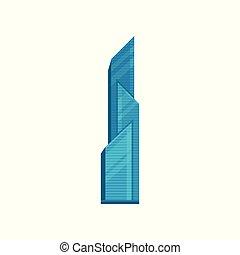 urbano, moderno, ilustración, elemento, vector, rascacielos, plano de fondo, blanco, edificio, paisaje