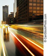 urbano, modernos, cidade, noturna