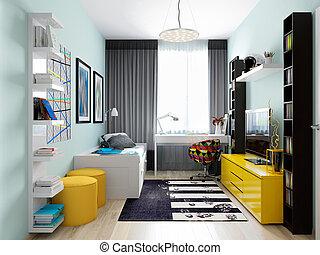 urbano, modernos, crianças, sala, contemporâneo