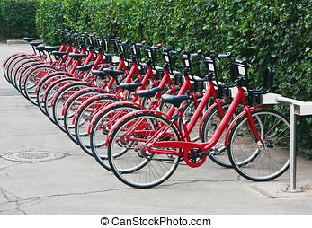 urbano, moscú, bicicleta, alquiler, estación