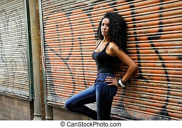 urbano, mujer, negro, joven, plano de fondo
