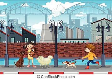 urbano, niños, escena, mascotas
