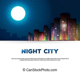 urbano, notte, fondo, città