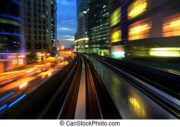 urbano, noturna, tráfego