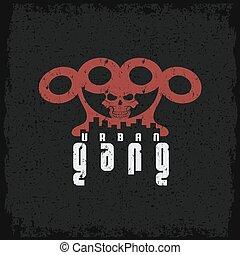 urbano, nudillos, grunge, cráneo, pandilla, emblema, latón
