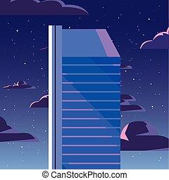 urbano, nuvens, arranha-céu, fundo, noturna, torre