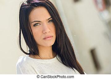 urbano, occhi, donna, giovane, sfondo verde