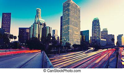 urbano, pôr do sol, cidade